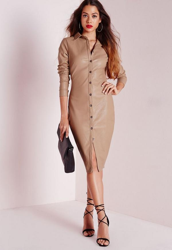 Faux Leather Fitted Shirt Dress Stone