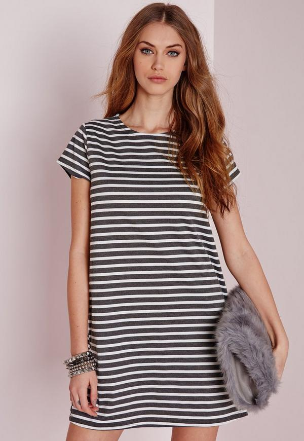 Short Sleeve Stripe Shift Dress Grey
