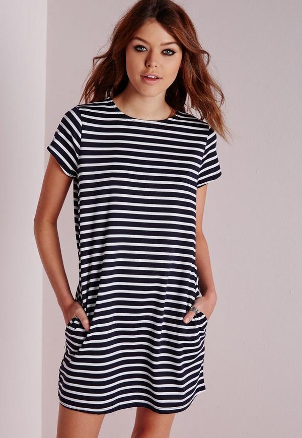 Boxy T-Shirt Shift Dress Navy/White Stripe