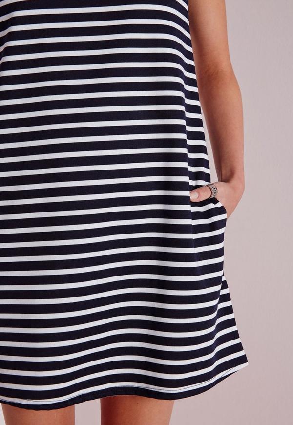 Boxy t shirt shift dress navy white stripe missguided for White military dress shirt