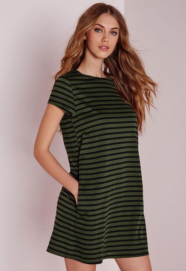 Short Sleeve Stripe Shift Dress Khaki