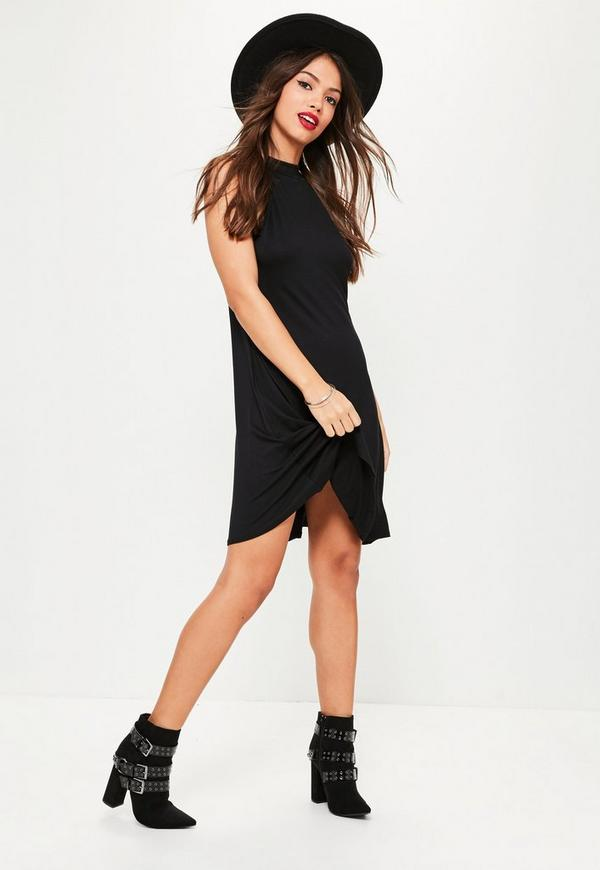 High Neck Jersey Racer Swing Dress Black