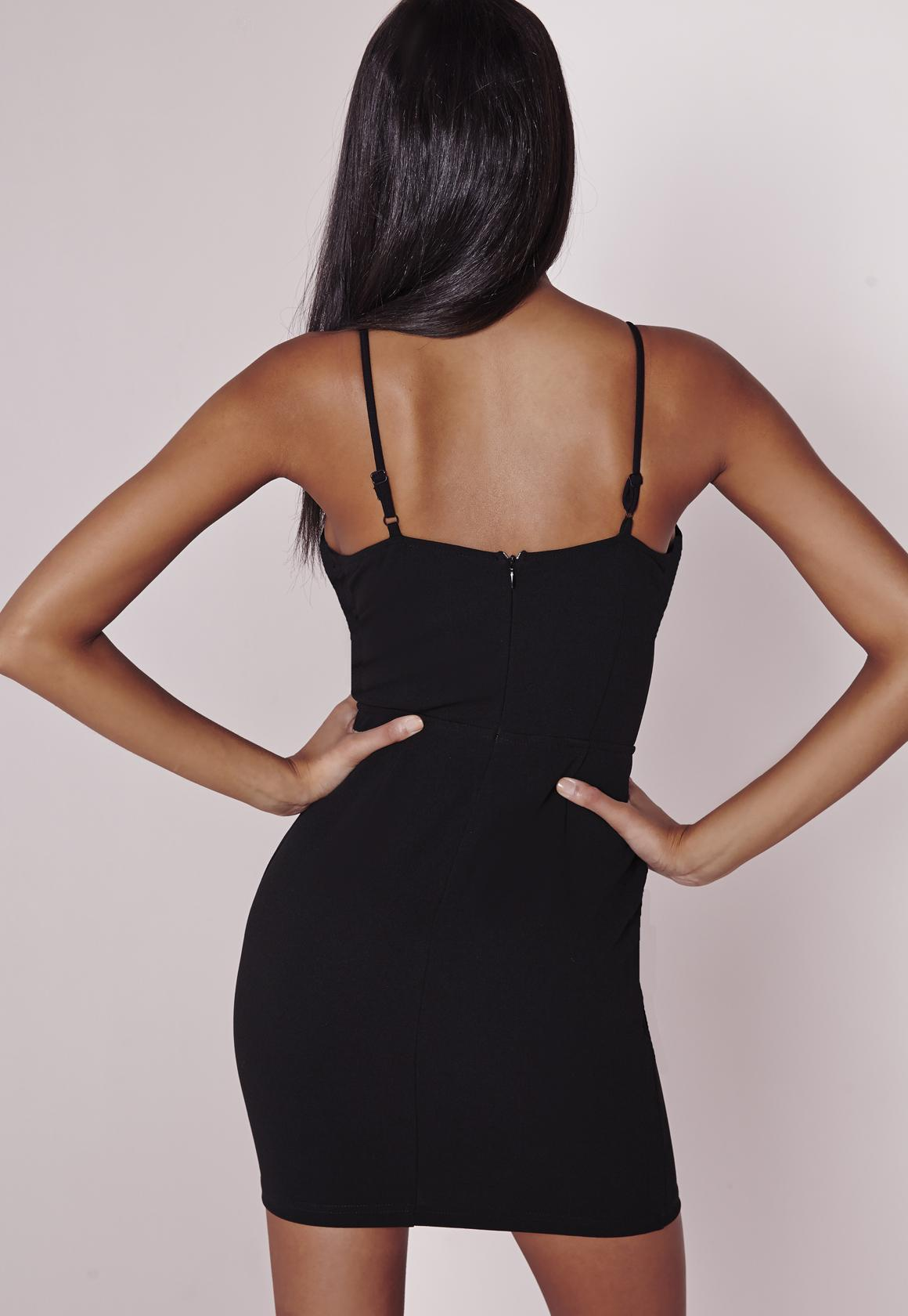 Boned Cup Bodycon Dress Black