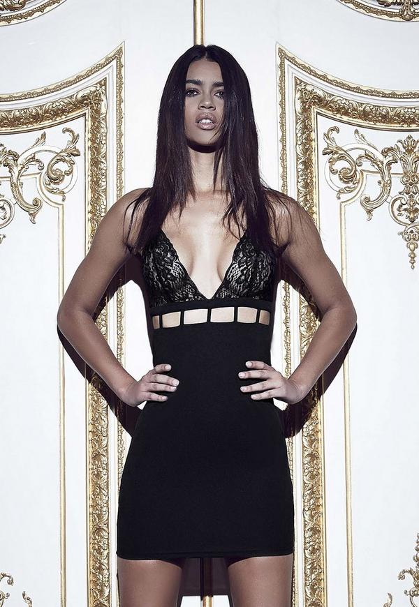 Peace + Love Lace Cup Caged Bodycon Dress Black