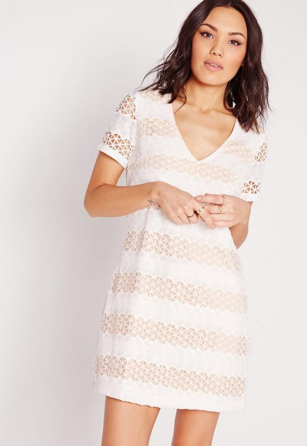 V Neck Crochet Lace Dress Nude/White