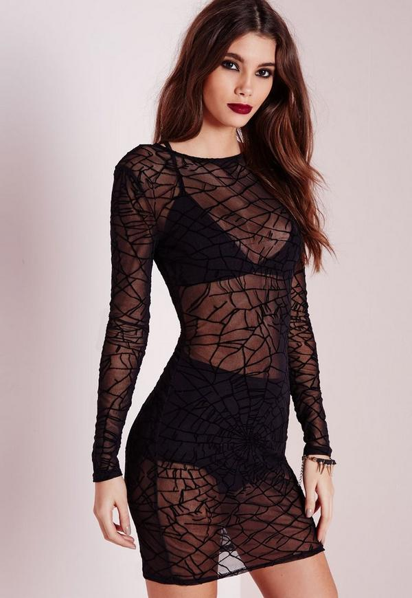 Mesh Cobweb Print Bodycon Dress Black