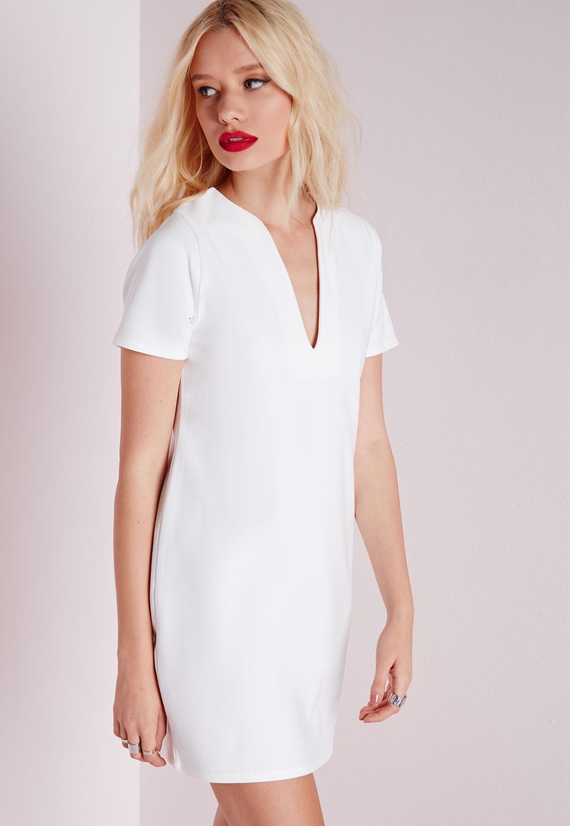 dd83bd56f4d8 Deep V Plunge Shift Dress White