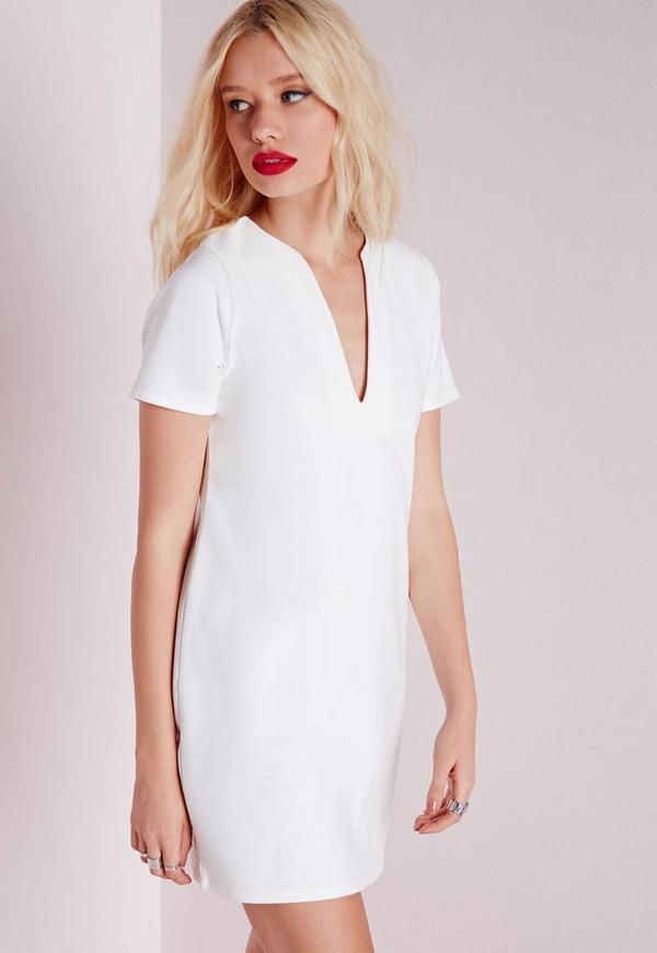 Deep V Plunge Shift Dress White