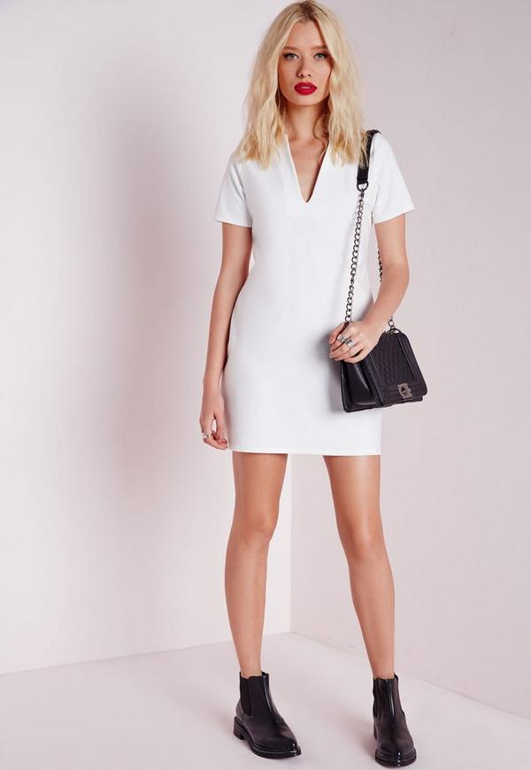 98ad225d2105 ... Plunge Shift Dress White. Previous Next
