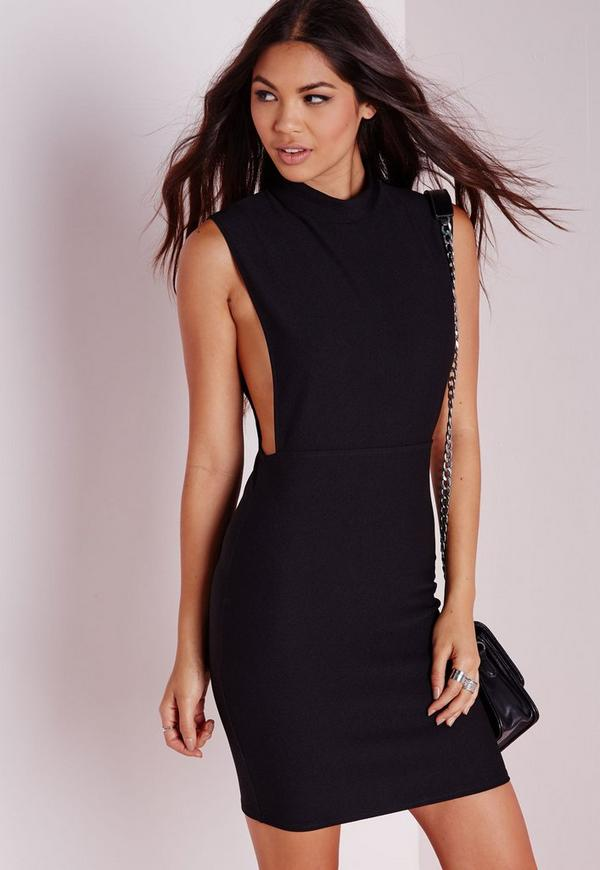 High Neck Cut Out Bodycon Dress Black