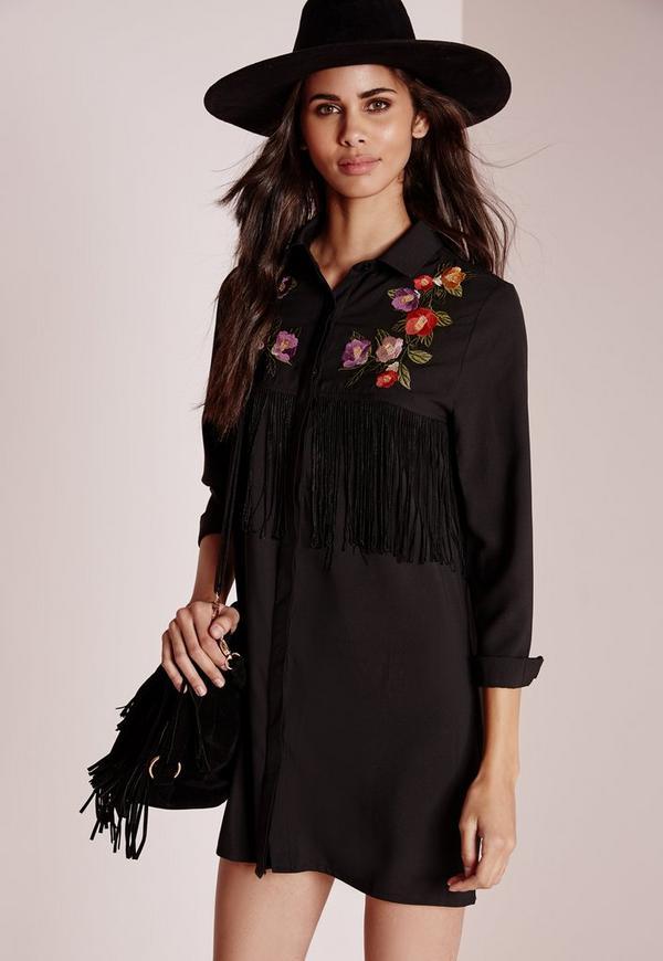 Fringe Embroidered Shirt Dress Black