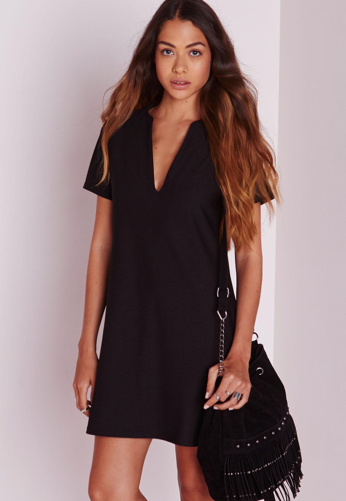 Deep V Plunge Shift Dress Black | Missguided