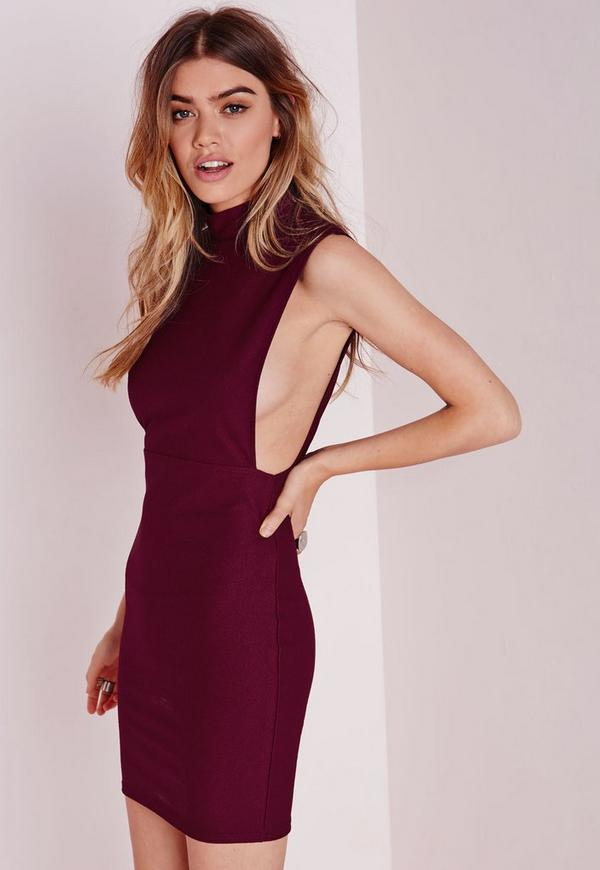 High Neck Cut Out Bodycon Dress Burgundy