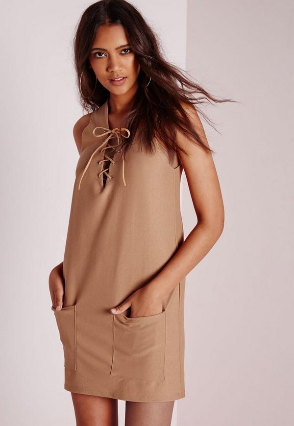 Plunge Lace up Swing Dress Tan