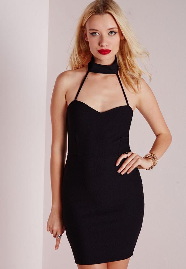 Strap Neck Detail Bodycon Dress Black