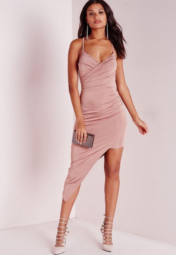 Slinky Asymmetric Hem Midi Dress Rose Pink