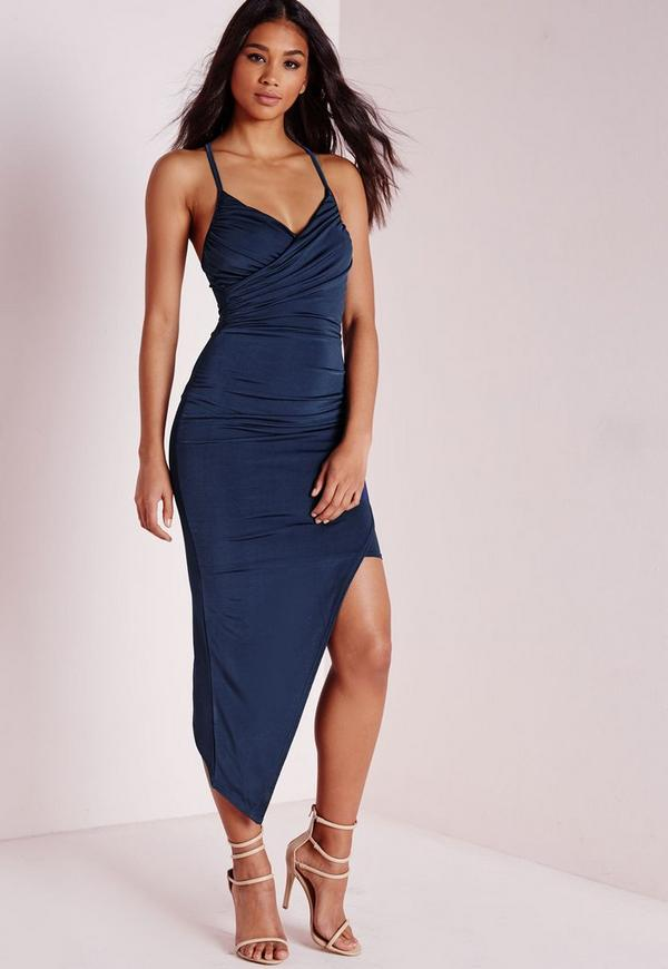 Slinky Asymmetric Hem Maxi Dress Navy