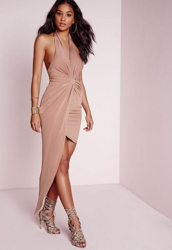 Slinky Halter Maxi Dress Taupe