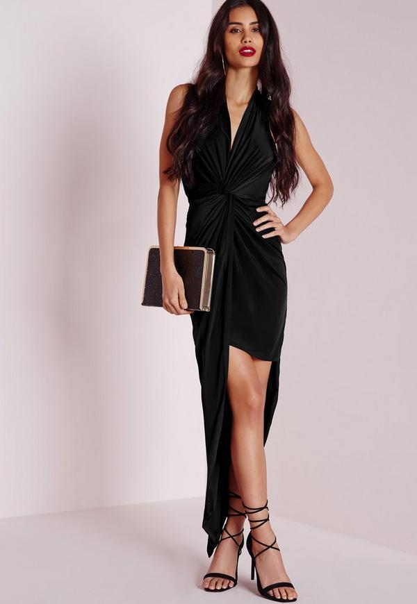 Slinky Halter Maxi Dress Black
