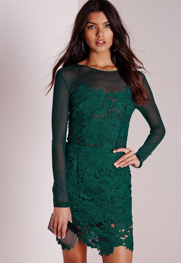 Floral Lace Mesh Bodycon Dress Green