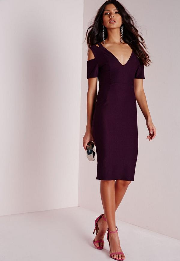 Double Strap Midi Dress Purple