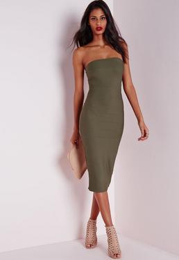 Dopasowana sukienka bez ramiączek w kolorze khaki