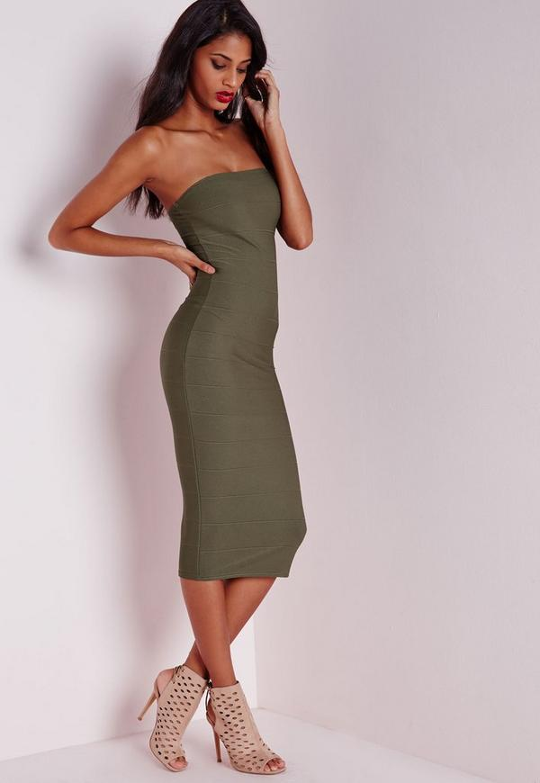 Strapless Bandage Bodycon Dress Khaki | Missguided