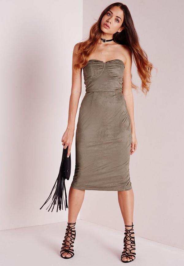 Strapless Suede Midi Dress Stone