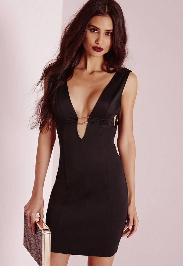 Sleeveless Open Side Gold Fastening Bodycon Dress Black
