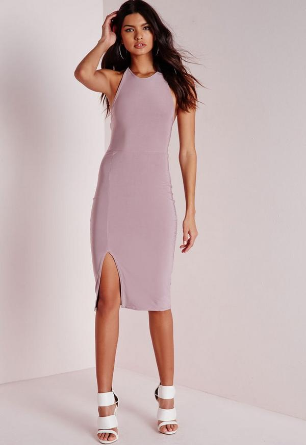 Slinky Strappy Midi Dress Mauve