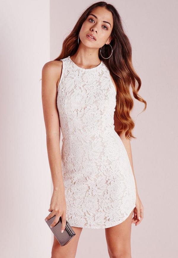 Lace up Back Mini Dress Nude/White