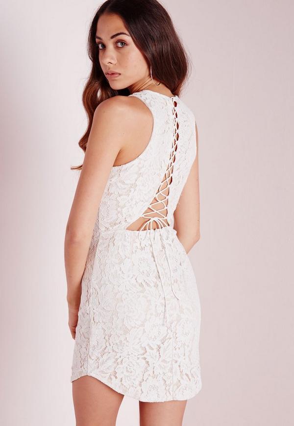 White lace up back dress