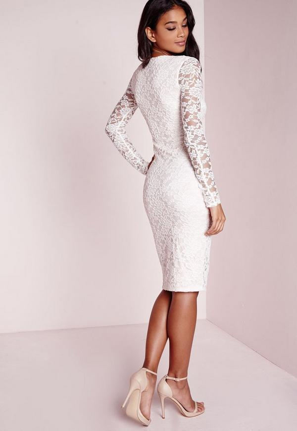 Lace Long Sleeve Side Split Midi Dress Nude/White | Missguided