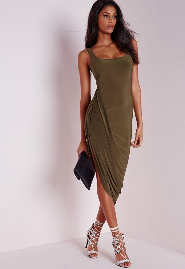 Slinky Draped Midi Dress Khaki