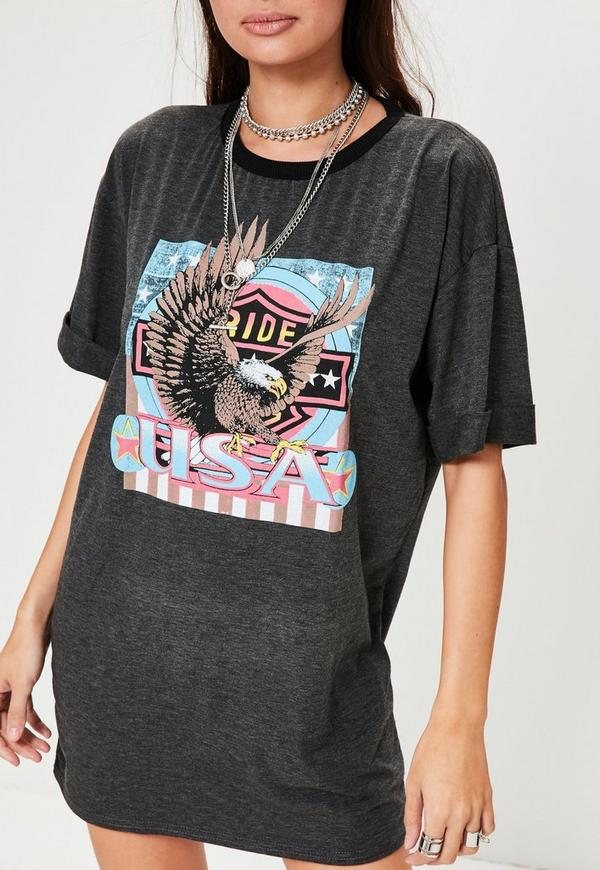 Printed graphic rock jersey t shirt dress grey missguided for Big and tall rock t shirts