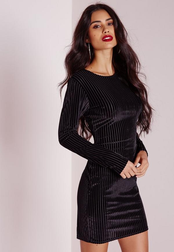 Burnout Velvet Stripe Long Sleeve Bodycon Dress Black