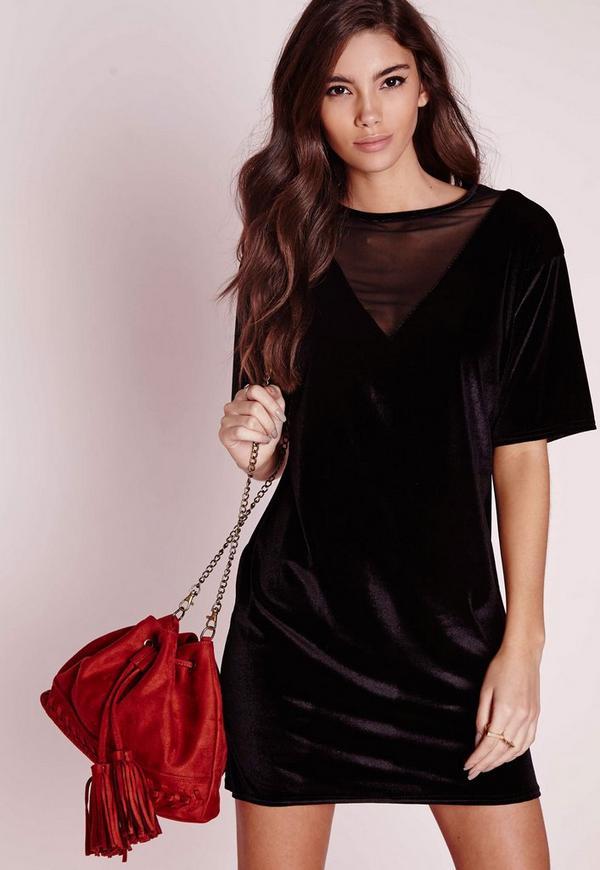 Mesh Velvet V-Neck T-Shirt Dress Black