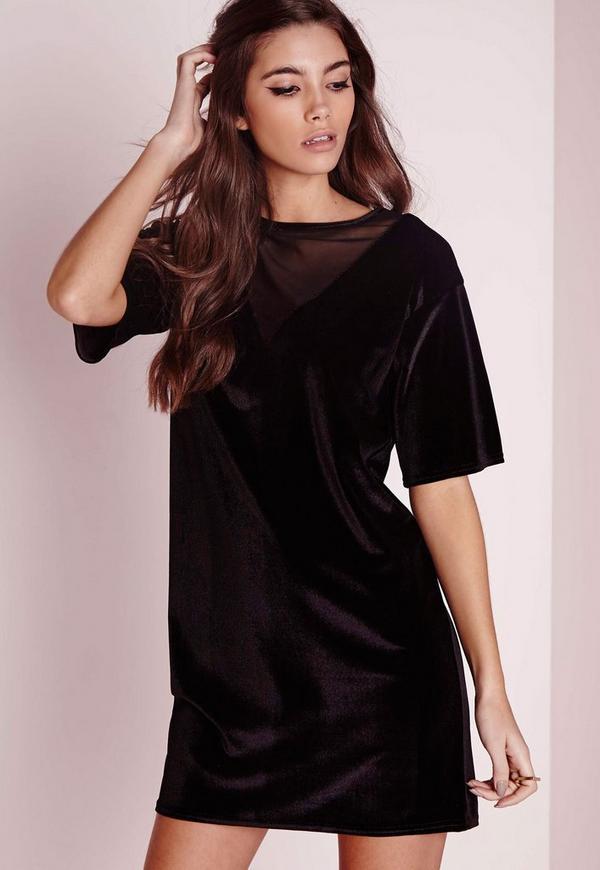 Mesh Velvet V Neck T Shirt Dress Black Missguided