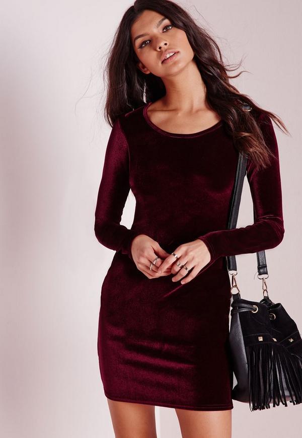 Long Sleeve Velvet Bodycon Dress Oxblood | Missguided