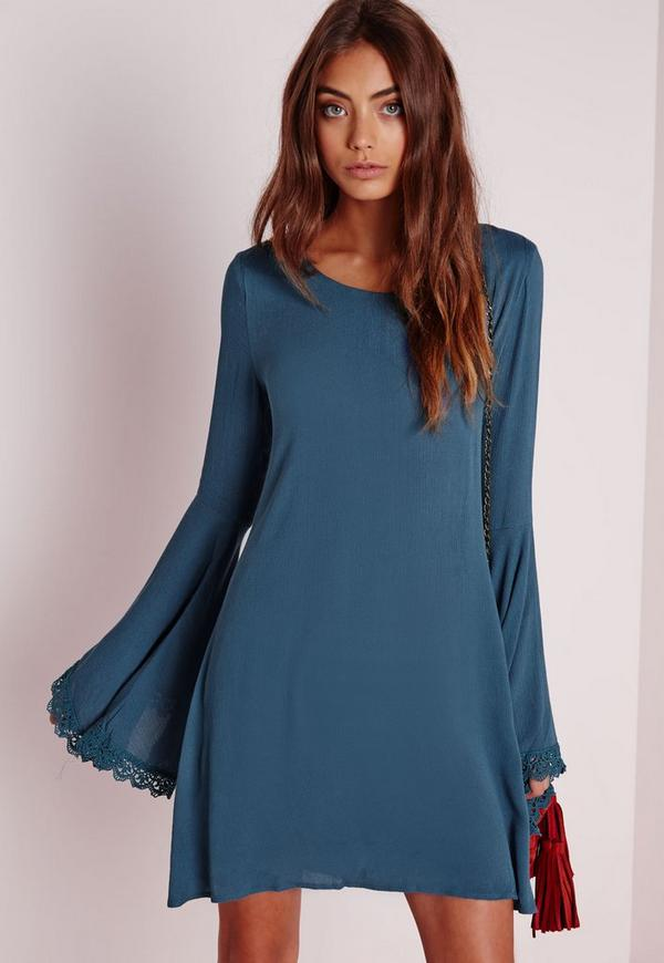 Lace Trim Bell Sleeve Swing Dress Teal