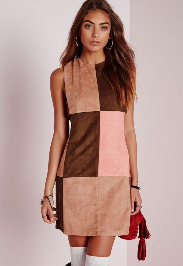 Caged Side Patchwork Shift Dress Tan