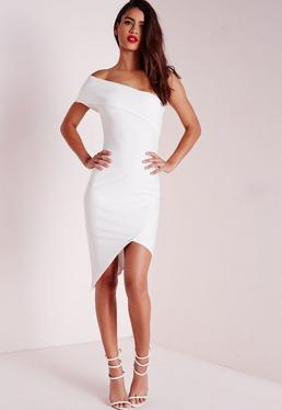 Crepe One Shoulder Asymmetric Bodycon Dress White