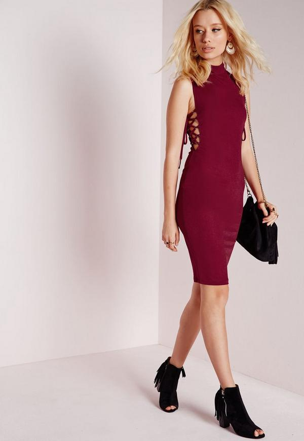 High Neck Lace Up Side Bodycon Dress Burgundy