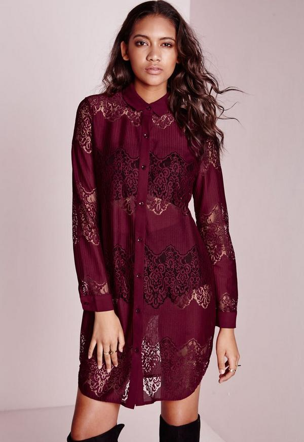 Oversized Lace Shirt Dress Burgundy