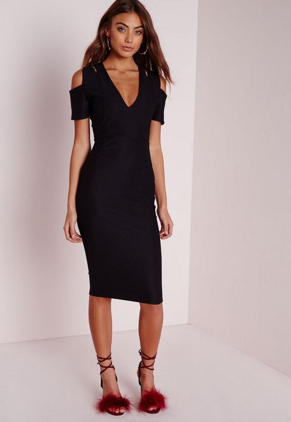 Double Strap Midi Dress Black