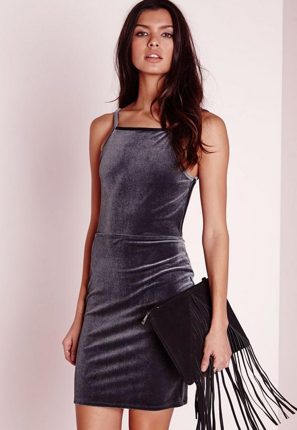 Velvet Strappy Open Back Bodycon Dress Grey