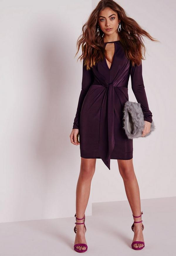 Slinky Knot Front Bodycon Dress Purple