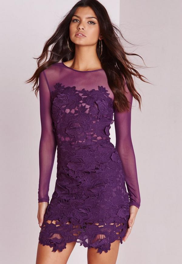 Floral Lace Mesh Bodycon Dress Purple | Missguided