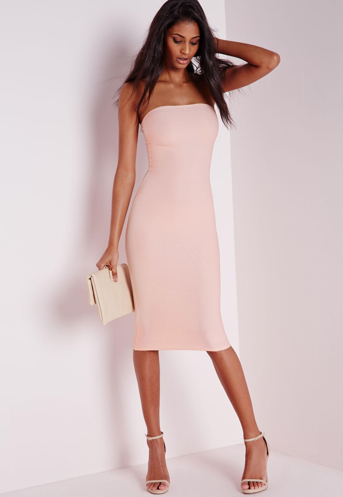 Strapless Bandage Bodycon Dress Nude | Missguided