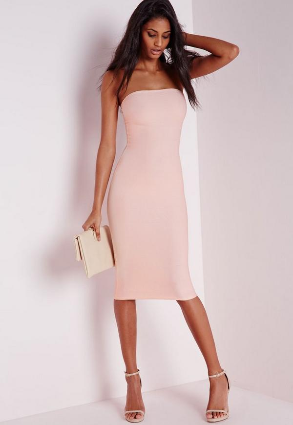 Strapless Bandage Bodycon Dress Nude